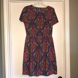 Merona pink and blue paisley print dress